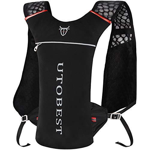 UTOBEST ハイドレーションリュック ランニングバッグ サイクリングリュック スポーツバッグ ウォーキング用バッグ マラソン ジョギング トレイルランニング 超軽量 自転車リュック 5L 3色選び (ブラック)