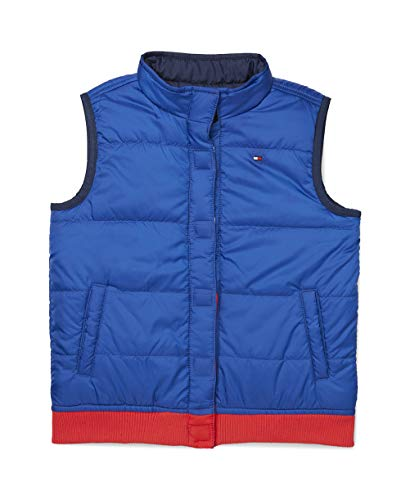 Tommy Hilfiger Boys' Adaptive Reversible Puffer Vest with Magnetic Buttons, Peru Blue, XL