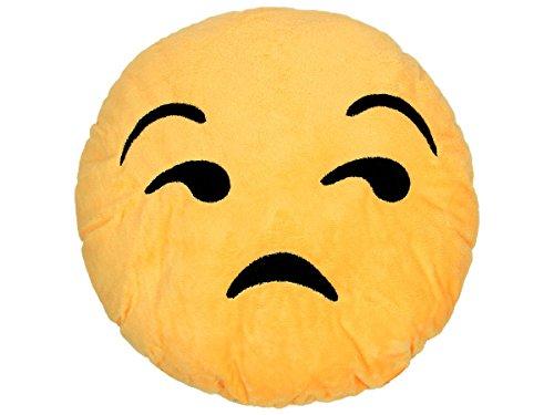 Alsino Emoticon Emojicon Lach Smiley Kissen Dekokissen Stuhlkissen Sitzkissen gelb rund, Variante wählen:Traurig Ki-18