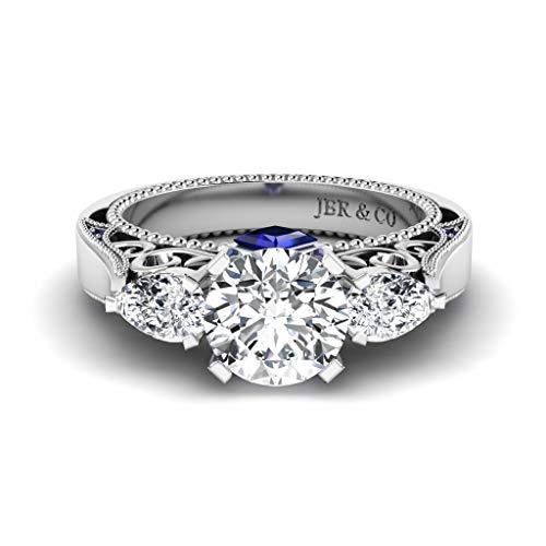 Anillo de plata de ley 925 con tres piedras de corte redondo con diamantes de corte redondo, estilo vintage, anillo de compromiso para mujer