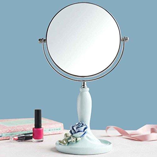 Miroirs Maquillage Coiffeuse Princesse Double-Face Grande Fille Agrandir Bureau Accueil Etudiants diamètre 20cm (Couleur : Bleu)