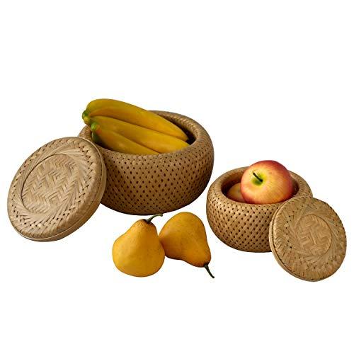 Juego de 2 cestas redondas de almacenamiento con tapa tejida a mano para frutas, caramelos, pan | Cesta de mimbre para llaves, cartera, teléfono celular y objetos pequeños organizador de cocina