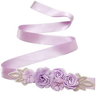 Elonglin Women's Dress Waist Belt Ribbon Bridal Flower Sash Rhinestone Beaded Waistband for Wedding/Party/Prom 270cm