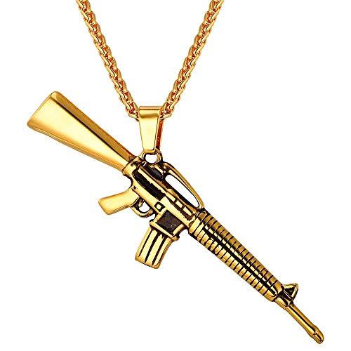 Collares Colgantes Color Oro Acero Inoxidable M16 Rifle Charm Collar Americano Ejército Militar Estilo Hip Hop Hombres Joyería