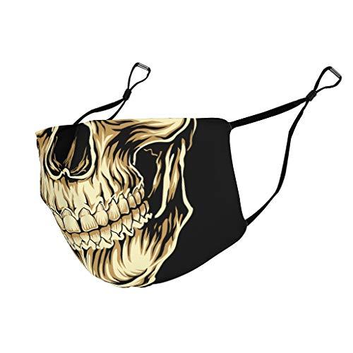 Gesichtsschutz mit Totenkopf-Aufdruck, Polyester-Baumwollfaser, für Herren, gruseliger Totenkopf Gr. One size, weiß