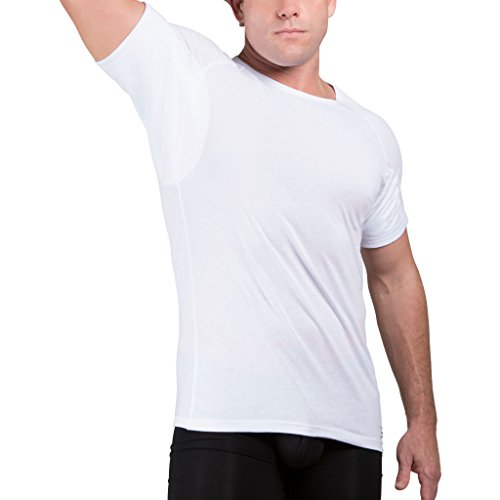 Ejis Men's Sweat Proof Undershirt, Crew Neck, Anti-Odor, Cotton, Sweat Pads (Large, White)