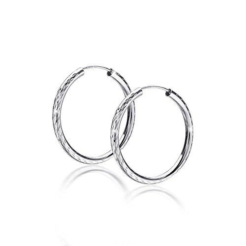 Materia Damen Ohrringe Creolen Silber 925 diamantiert 30mm - Glitzer Silbercreolen Ringe in Schmuck Etui SO-326