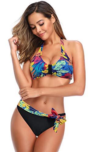 SHEKINI Damen Neckholder Bikini Set Niedriger Kragen Bademode Bikinioberteil Verstellbarer Ties-up Elegant Zweiteiliger Badeanzug Triangel Bikinihose Bademode (Small, Blumendruck-Schwarz)