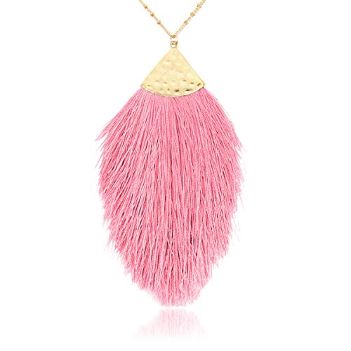 RIAH FASHION Antique Bohemian Silky Thread Fan Tassel Statement Necklace - Vintage Gold Feather Shape Strand Fringe Lightweight Long Chain (Feather Fringe - Pink)