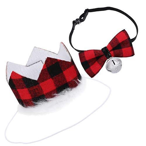VILLCASE 2 unidades de disfraz de perro de Navidad sombrero y pajarita con campana de Navidad gato mascotas collar suministros de fiesta para cumpleaños Navidad Año Nuevo rojo oscuro