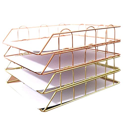 LUNAH Office Folding Iron Magazines Newspaper Rack Storage Rack Document Tray Desk Organizer Supplies (4 Pack: 2x Rose Gold, 2x Gold)