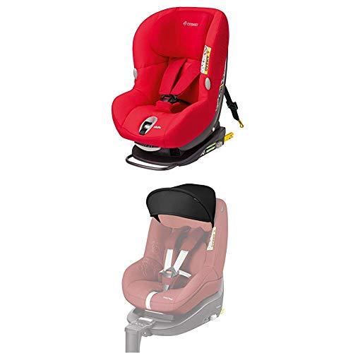 Maxi-Cosi MiloFix Kindersitz, Gruppe 0+ /1 Autositz (0-18 kg), Reboarder mit Isofix, nutzbar ab der Geburt bis ca. 4 Jahre, origami red + Sonnenverdeck, Sonnenschutz, black (schwarz)