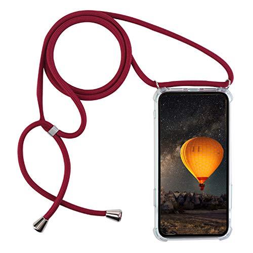 mvced Kompatibel mit Motorola Moto ONEMacro Hülle TPU Silikon Tasche Handy Hülle mit Kordel zum Umhängen Necklace Transparent Silikon.