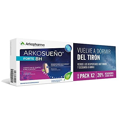 Arkopharma Arkosueño Forte 8h de Sueño Pack 60 comprimidos, Liberación de Melatonina 1,9mg en 2 fases, Despertares nocturnos, Dormir Rápidamente, Complemento Alimenticio