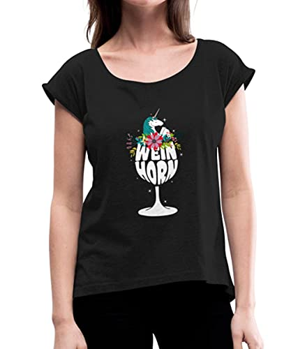 Weinhorn Wein Trinkendes Einhorn Weinglas Frauen T-Shirt mit gerollten Ärmeln, XL, Schwarz