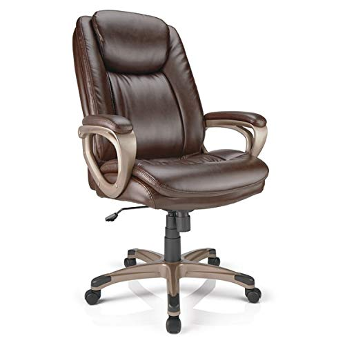 Realspace Tresswell Bonded Leather High-Back Chair, Brown/Champagne