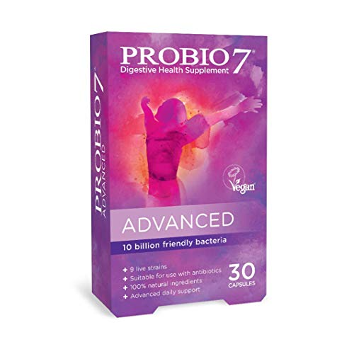 Probio7 Advanced | 9 Live Strains | 10 Billion CFU + 2 Types of Fibre | Digestive Health Supplement (30 Vegan Capsules (1 Month Supply))