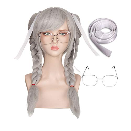 Wig with Glasses and Ribbon Silver Gray Cosplay Wig for Halloween