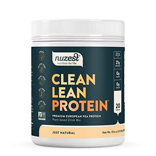 Just Natural (UNFLAVORED) Clean Lean Protein by Nuzest - Premium Vegan Protein Powder, Plant Protein Powder, European Golden Pea Protein, Dairy Free, Gluten Free, GMO Free, 20 Servings, 1.1 lb