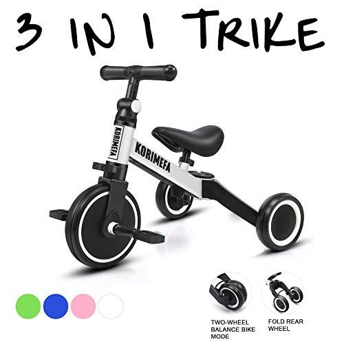 KORIMEFA 3 en 1 Vélo Draisienne Tricycle Évolutif pour Enfants 1-3 Ans Premier Vélo pour Bébés...