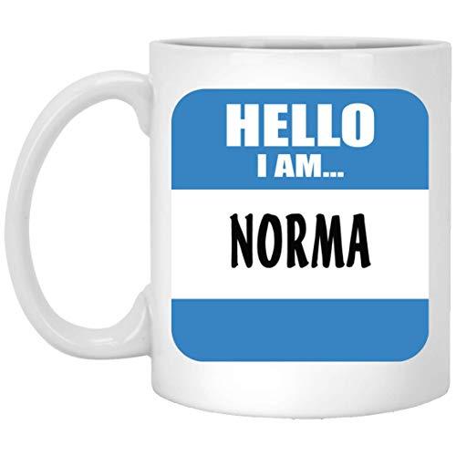 N\A Personalisierte Tasse Tasse für Männer, Frauen - Hallo, ich Bin Norma Kaffee-Tee-Tassen für ihn, sie am Vatertag - weiße Keramik