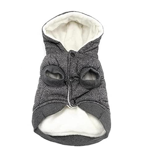 Capa de la chaqueta de perro abrigo de invierno para mascotas mascotas ropa caliente con forro polar sudaderas con capucha Gris L, con capucha perro