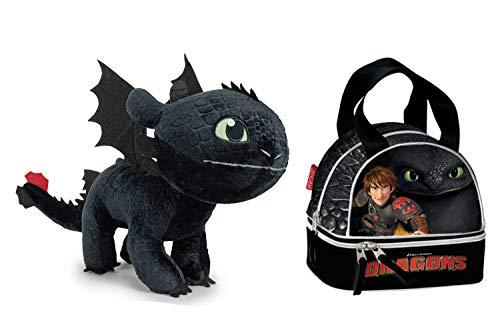 HTTYD Dragons, como Entrenar a tu dragón - Pack Peluche Desdentao Toothless Furia Nocturna 11'81'/30Cm + Bolsa Porta merienda
