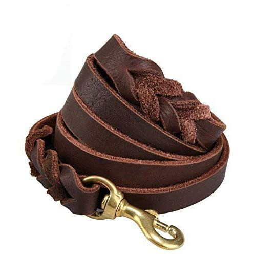 Training Lead Handmade Braided 8 ft Genuine Leather Dog Training Leash Lead, Burgundy