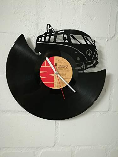 Reloj de pared de disco de vinilo reloj con motivo de bus upcycling diseño reloj decoración de pared reloj vintage decoración de pared reloj retro