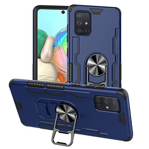 TOPOFU Cover per Samsung Galaxy A71, [Apribottiglie Birra] Custodia in Gel TPU Ultra Slim Custodia Antiurto con 360° Anello Grip Holder Cover per Samsung Galaxy A71 Blu