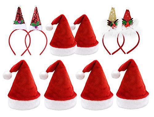 Pack 10 Gorro de Navidad de Papá Noel con Diadema en Diseño Navideño para Familiares Sombreros de Fiesta Año Nuevo Manualidades Accesorios de Navidad (Modelo B)