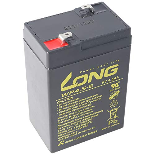 Kung Long WP4.5-6 Blei Akku 6 Volt 4,5Ah mit Faston 4,8mm Steckkontakt Abmessungen LxBxH 70x47x101mm