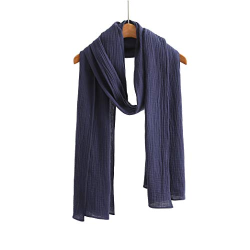 100% Cotton Scarf Shawl Wrap Soft Lightweight Scarves Wraps For Men & Women (Double Layer Navy)