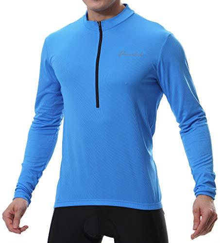 Przewalski - Maglia da ciclismo da uomo, a maniche corte e a maniche lunghe, in jersey/abbigliamento da ciclismo, per bici da corsa, ciclismo, nero/giallo (M, blu)