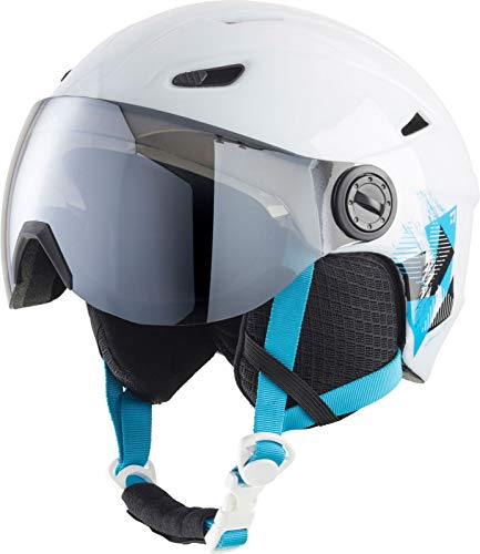 TECNOPRO Kinder Pulse JR S2 Visor HS-016 Ski-helm, WHITE/TURQUOISE, XS