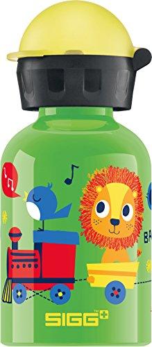 Sigg Jungle Train Kinder Trinkflasche (0.3 L), schadstofffreie Kinderflasche mit auslaufsicherem Deckel, federleichte Trinkflasche aus Aluminium