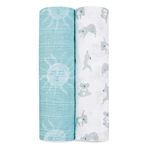 aden + anais Swaddle Blanket, Boutique Muslin Blankets for Girls & Boys, Baby Receiving Swaddles, Ideal Newborn & Infant Swaddling Set, Perfect Shower Gifts, 2 Pack, Now + Zen