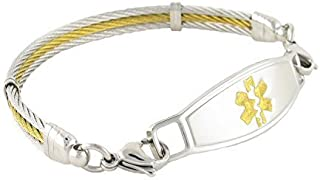 N Style ID Women's Golden Gate Stainless Steel Cable Personalized Medical Alert Bracelet - Gold - 6.75