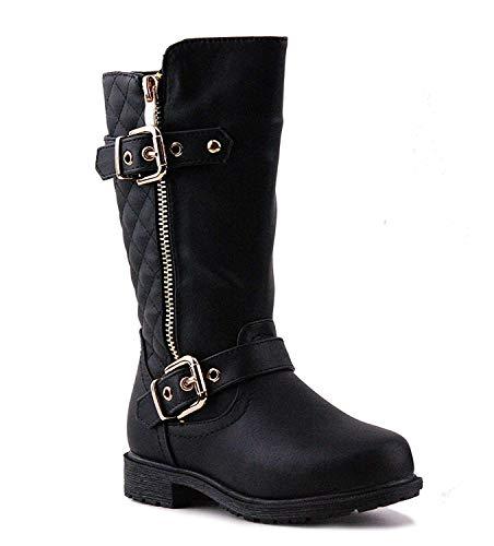 CC Mango-21k Little Girls New Knee High Flat Riding Boots Shoes Black 9M Toddler