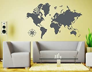 Style & Apply Detailed World Map Wall Decal Educational Wall Decal, Map Sticker, Vinyl Wall Art, Geography Decor - 3712 - Dark gray, 39in x 25in