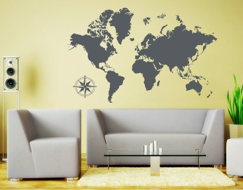 Style & Apply Detailed World Map Wall Decal Educational Wall Decal, Map Sticker, Vinyl Wall Art, Geography Decor - 3712 - Dark Gray, 74in x 47in -  Innovations Etcetera LLC, 1963-129541-129534