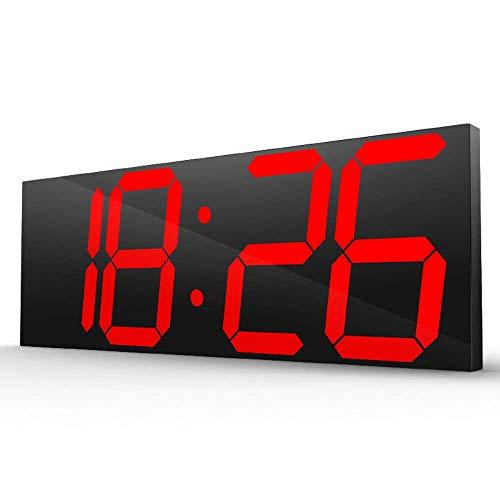 Orologio da parete Digitale A LED, Orologio Elettronico, Indicatore LED Rosso, 16 Gruppi di Sveglie con Porta di Ricarica USB, Display A Grande Schermo 44,7X16X2CM