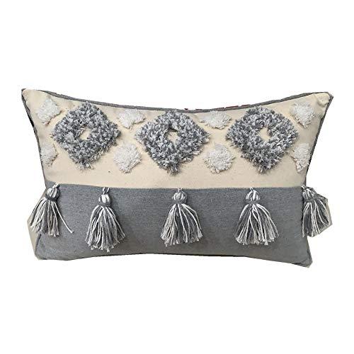 Mocofo - Funda de cojín con flecos y borlas, diseño bohemio bordado, color crema, blanco y gris