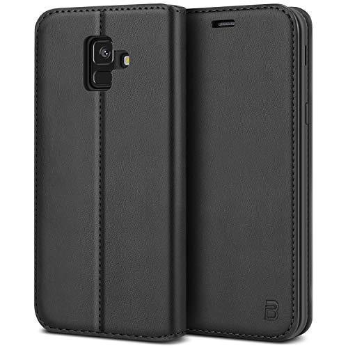BEZ Handyhülle für Samsung A6 Hülle Kompatibel für Samsung Galaxy A6 2018 Tasche, Hülle Schutzhüllen aus Klappetui mit Kreditkartenhaltern, Ständer, Magnetverschluss, Schwarz