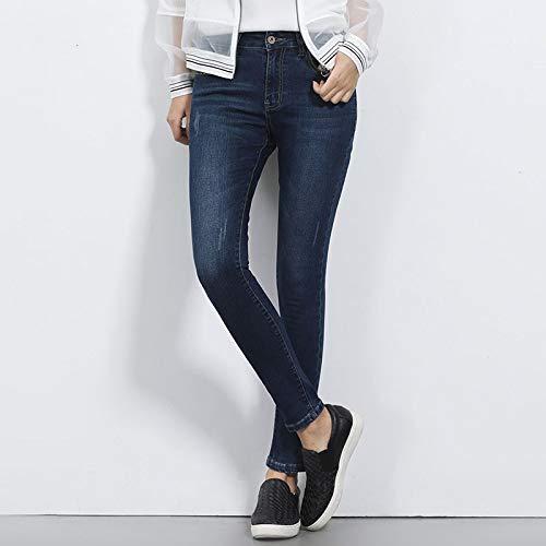 FDBVDKZ Damen Jeans Mittlere Taille für Frauen Dünne waschende Stretchjeans Causal Demin Pant Plus Size 6XL Mittlere elastische Ganzkörper-Damenjeans 5XL blau 5448