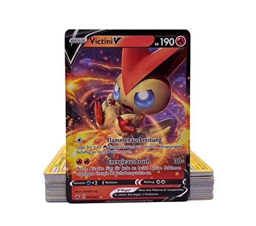 Pokemon - 50 Verschiedene deutsche Karten inkl. seltener V-Karte und Reverse Holos + GECO® Spielmatte