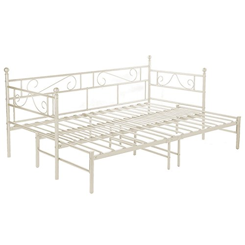 DORAFAIR Metal Daybed and Trundle Frame Set, Sofabed Bed Frame for Living Room Bedroom Children Room Guest Room, White