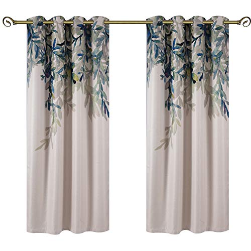 Taisier Home Weeping Leaves Digital Printing Curtains 2 Panels Set 72 Inches Length for Living Room Dining Room Kids Room Fashion Grommet to Curtains