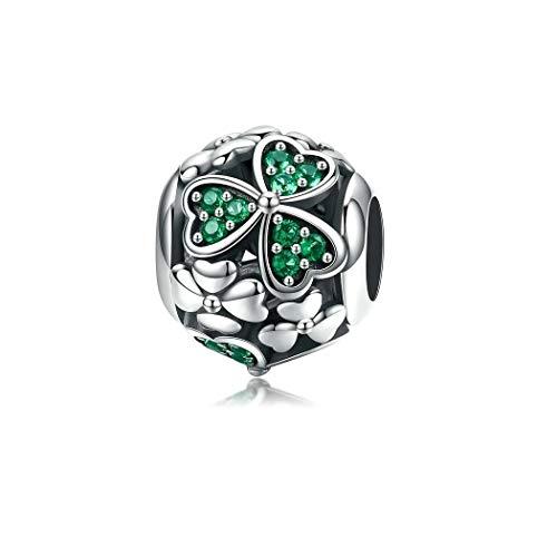 FeatherWish - Abalorio redondo de trébol de la suerte de cuatro hojas, plata de ley 925 con circonita cúbica verde, compatible con pulseras Pandora, pulseras o collares europeos de 3 mm