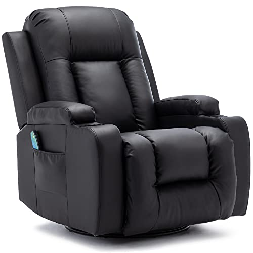 Vicluke Massage Recliner Chair with Heated, 360 Degree Swivel Rocker Recliner Lounge Chair, Leather Reclining Sofa with Cup Holders for Living Room (Black)